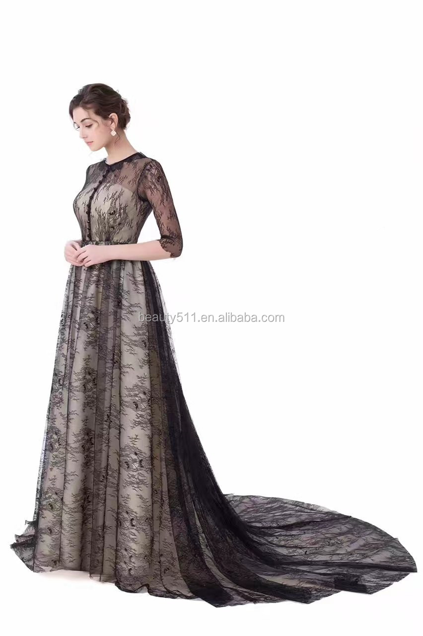 Long sleeve elegant black dress adies' evening dress .evening gownED528