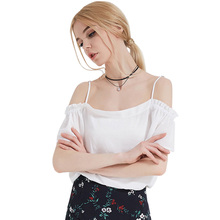 wholesale off shoulder braces fold design crop top women blouse chiffon