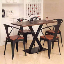 Industrial style 4 seater restaurant dining table set(FOH-WRS38)