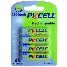 PKCELL Ni-MH Rechargeable Batteries AA2600mAh 1.2V long cycle life
