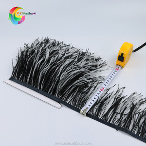 new arrivals black with white bicolor Ostrich Feather Trims double colors Feather trimming for costumes