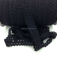 "7/8"" Black Frilly Edges Elastic Stretch Lace Elastic Webbing for Baby Headband 100Y/Lot 13Colors Available"