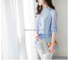 Korean flounced women chiffon <strong>blouse</strong> long sleeve chiffon top <strong>blouse</strong> with <strong>lace</strong> A777