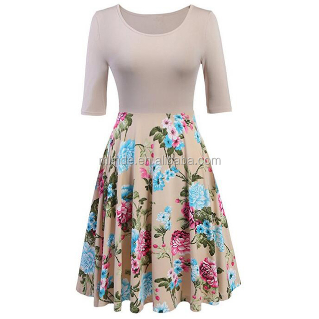 Alibaba Top Selling Clothing Wholesale 3/4 Sleeve Vintage Patchwork A-line Floral Cocktail Summer Casual Women Dresses