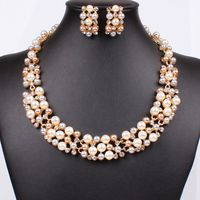 new bride pearl jewelry set statement necklaces pendants stud earrings wedding jewelry set 222