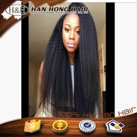 2015 Natural hairline wholesale cheap high quality shedding free brazilian huamn hair yaki full lace wig silk top