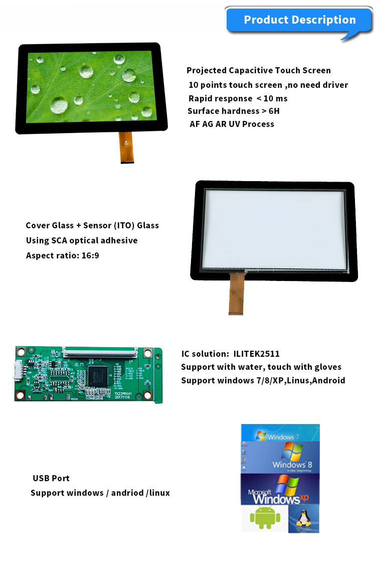 Industrial Grade PCAP 15.6 Inch USB Capacitive touch screen Panel Overlay Kit