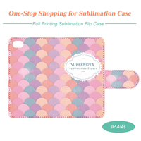 Sublimation Blank Flip Leather Mobile Phone Case, Full Cover Printing for iPhone4