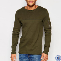 online shopping india 100% cotton mens long sleeve tee shirts contrast yoke zip pocket sleeve t shirt