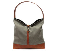 100% Handmade Brown TC Cotton Leather Hobo Tote Bag