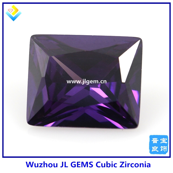 New product for jewelry making zircon stone with purple cubic zircon square and grid