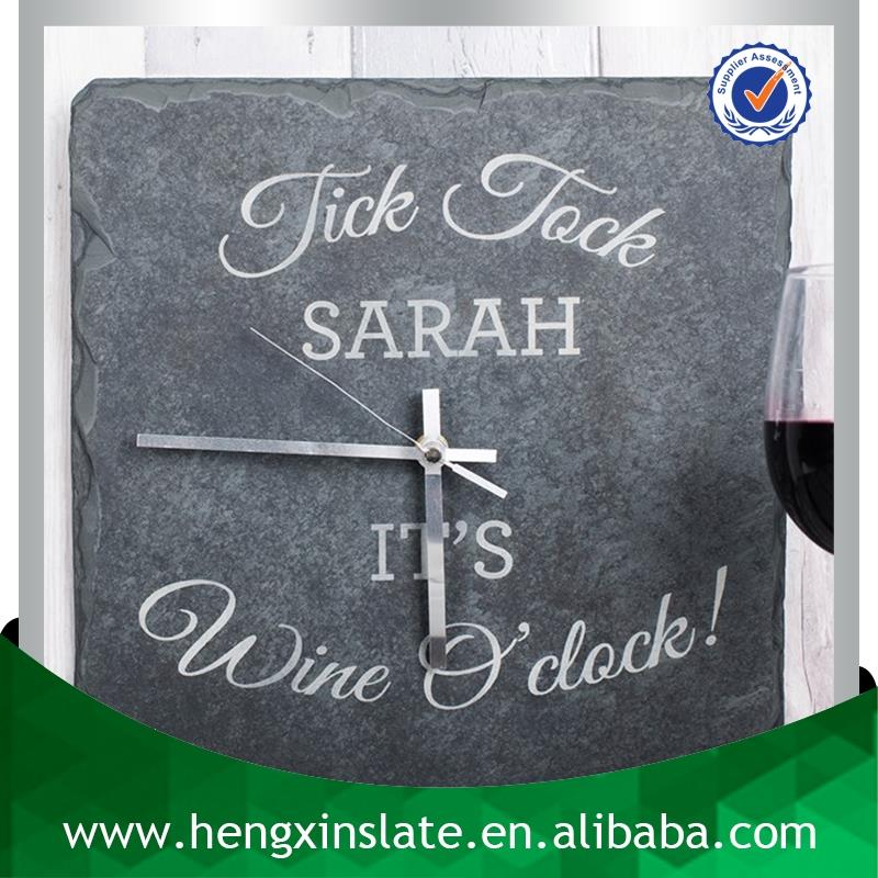 Wine O'Clock Handmade Decorative Hanging 30*30*0.5cm Natural Edge Slate Clock (Customized Laser Design)