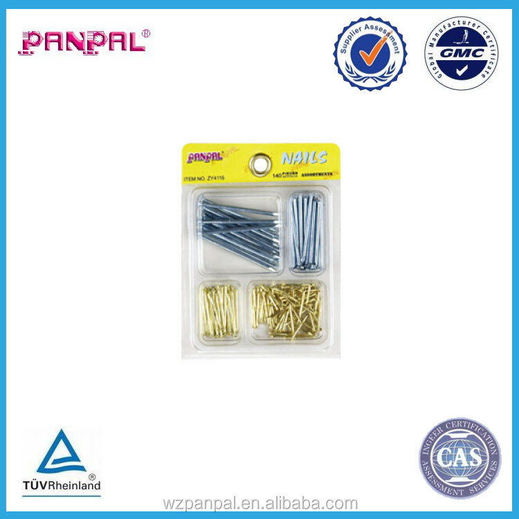 china manufacturer blister pack 140pcs zinc plated round nail wire nail
