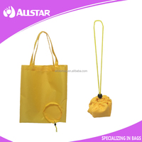 Wholesale 210D cheap folding tote bags promotional reusable shopping drawstring bags