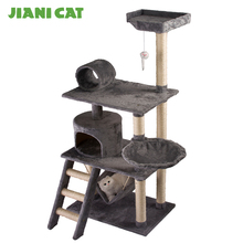 China customized design plush wooden pet condo tower supplier furniture factory toys cat scratcher tree house