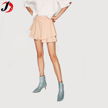 Chinese Clothing Manufacturers For Women Custom 100% Polyester Sexy Shiny Ladies Short Dresses With Folds And Layers