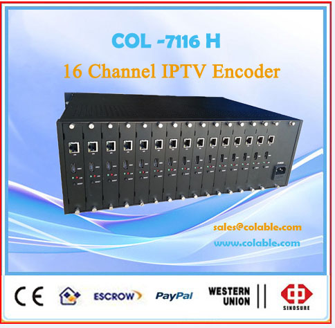 IPTV Middleware 16 in 1 HD-MI Encoder for Live Broadcasting System COL7116H