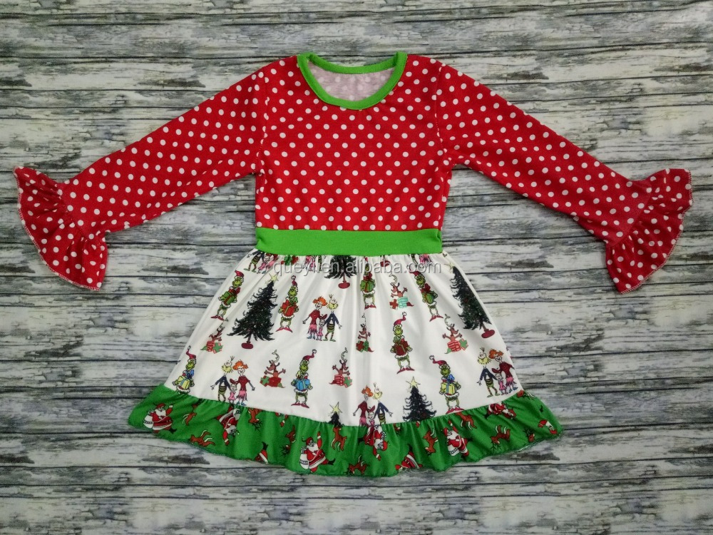 christmas sales grinch kid dress long sleeve dress giggle moon remake outfits frock design for baby girl