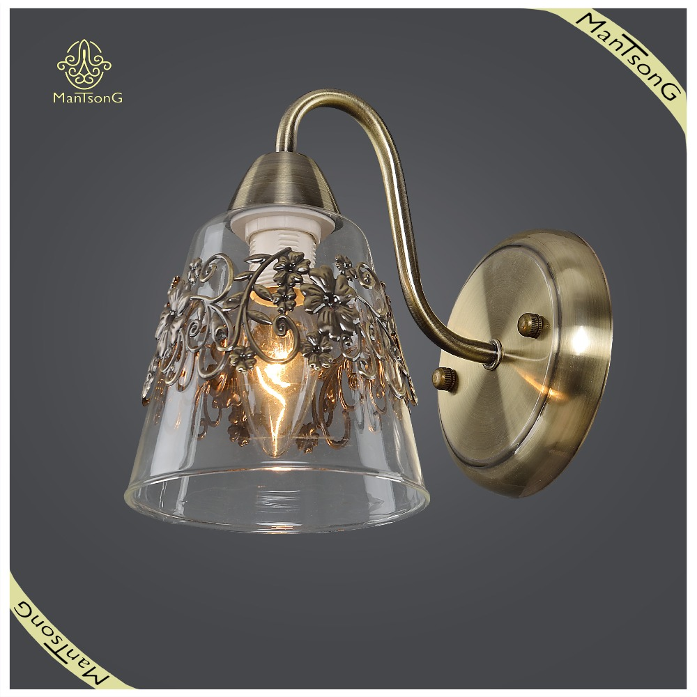 Classic Cheap Price Iron Cage Wall Lamp Glass Shade, Home and Hotel Wall Lamp
