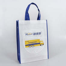 Handle style recycle reusable foldable nonwoven promotional bag with pocket