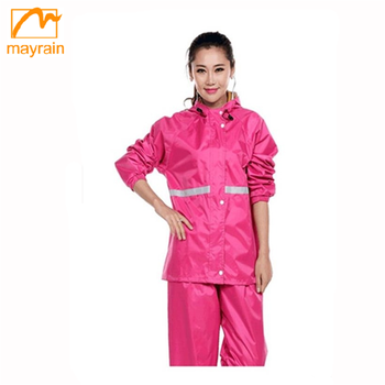 adult fashion polyester rainsuit rain coat with hood