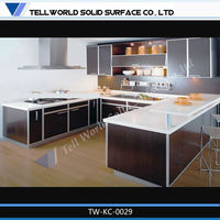 kitchen cabinets with counter/artificial stone kitchen table/ corian kitchen top