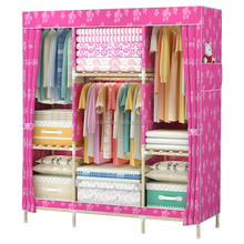cheap price assembled style folding wooden fabric wardrobe for sale
