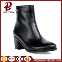 Low heel metal decoration luxury non-slip winter rubber sole leathe boots for women