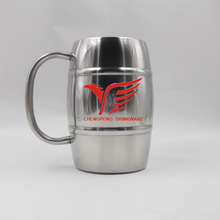 2012 new design heat resistant double wall stainless steel coffee cup with handle