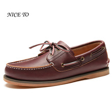 Men's Top Original Brown Leather Non Slip Soft Outsole Boat Shoes