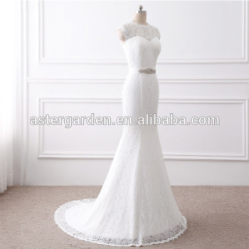 OEM wedding dresses round neck backless lace trailing wedding veil