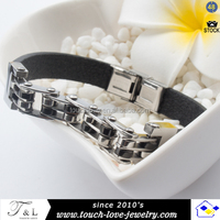 Men's Leather Bangle & Bracelet Jewelry Permanent Bracelet Stainless Steel Chain Bangle