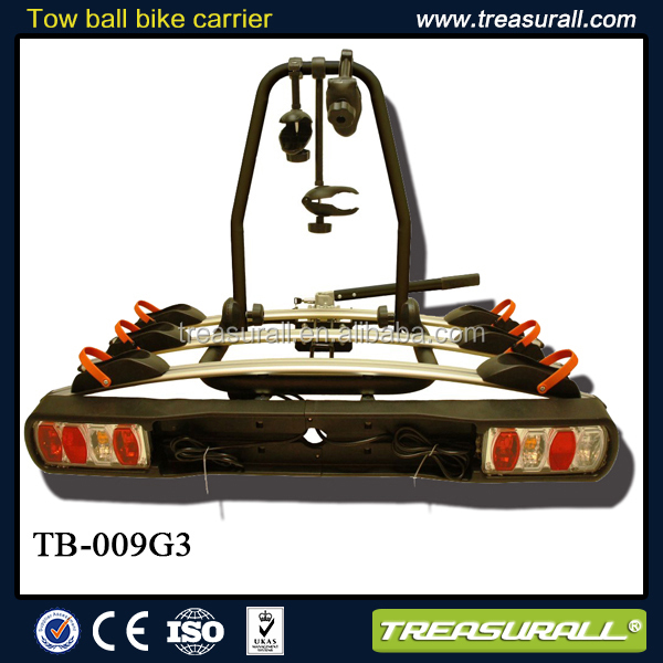 New design tow bar mounted bike carrier in steel with bike support runners in Aluminum for 3 bikes