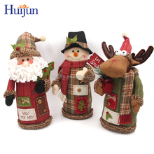 3PCS Fabric Christmas Standing Decoration With Santa Noel Snowman Reindeer