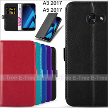 shockproof wallet stand flip leather phone case for galaxy A3 2017(A5 2017)