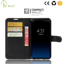 Free Sample Litchi Grain Leather Flip Wallet Case For Samsung Galaxy S8 Plus
