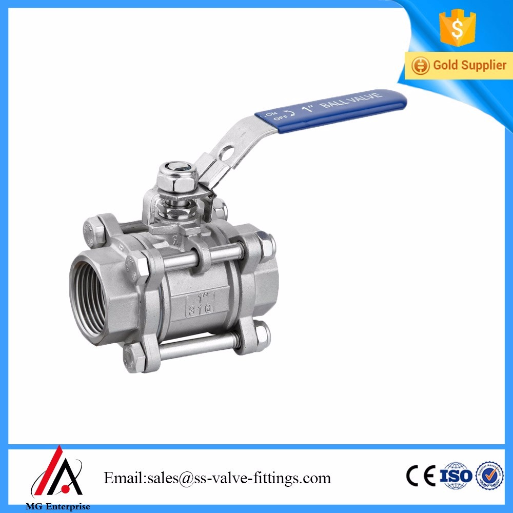 "3-piece Stainless Steel <strong>Ball</strong> <strong>Valve</strong> - 1/2"" NPT china Supplier"