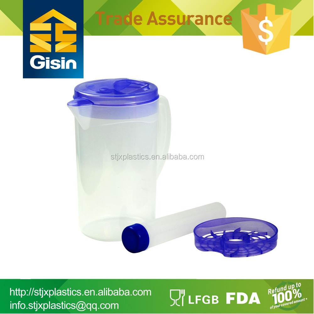 2L venting plastic water pitcher with ice tube