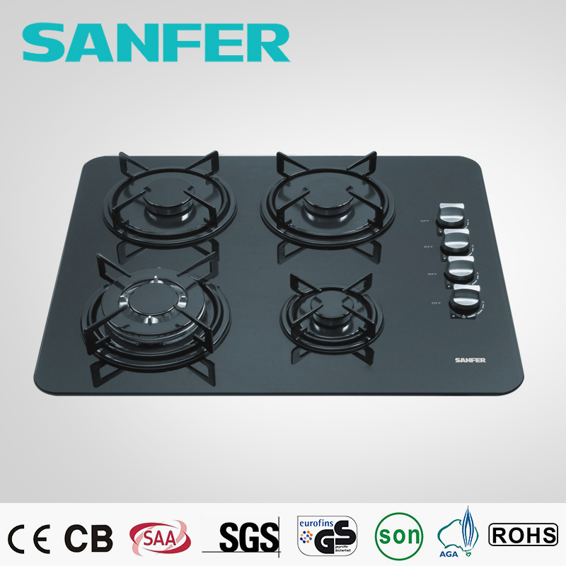 Black glass 4 burner table top green gas cooker