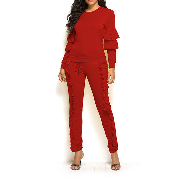 China Factory Wholesale Solid Long Sleeve Ruffle Two Piece Pants Set Customizable Women Clothing