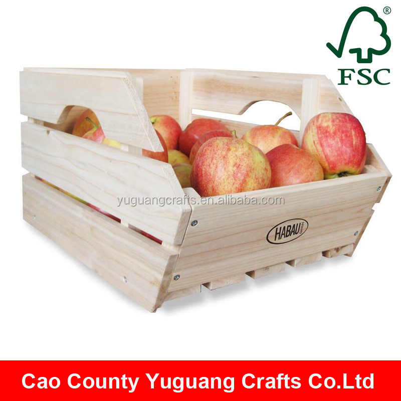 Customize Made Unfinished Stackable Wooden Fruit Crates Wholesale