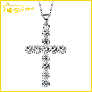 hip hop fashion design for men women AAA lab diamond CZ inlay silver cross  pendant fc1903f8c8d7