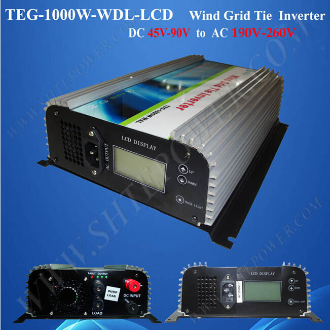 MPPT Control DC to AC On Grid Inverter 1kw for Wind Turbine with LCD