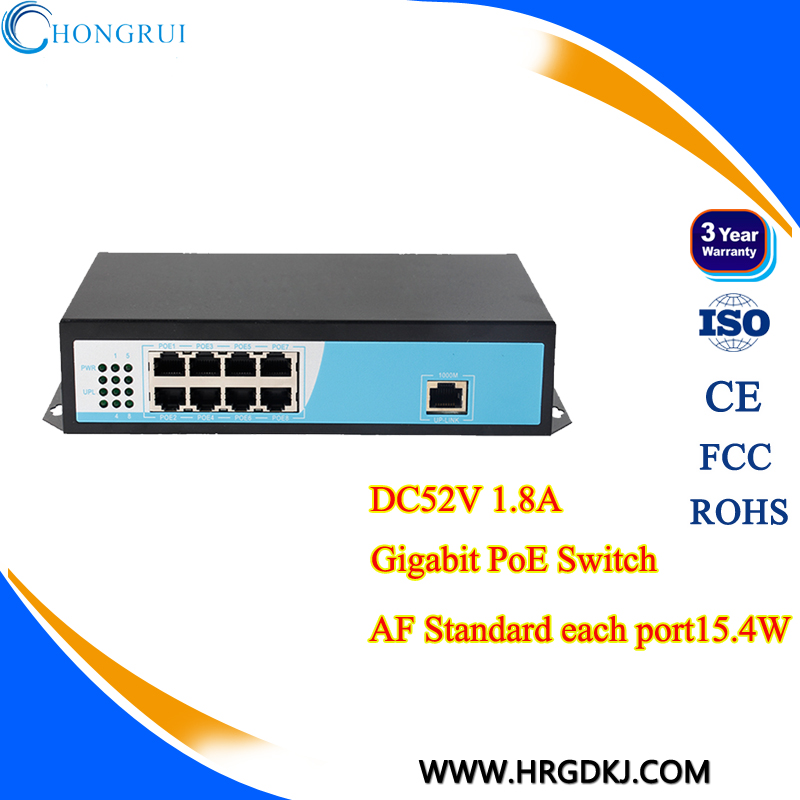 surveillance POE optical ethernet switch 8 port switch 10/100/1000