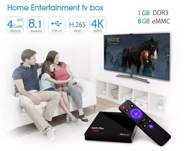 Venta caliente y alta calidad A5X Plus mini RK3328 1G 8g inteligente Android TV box WiFi dual 2.4 g/5g Android 8.1 TV box