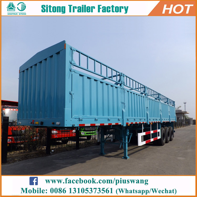 China Liangshan 3 axles 40 ton 60 ton poultry transport fence semi truck trailer