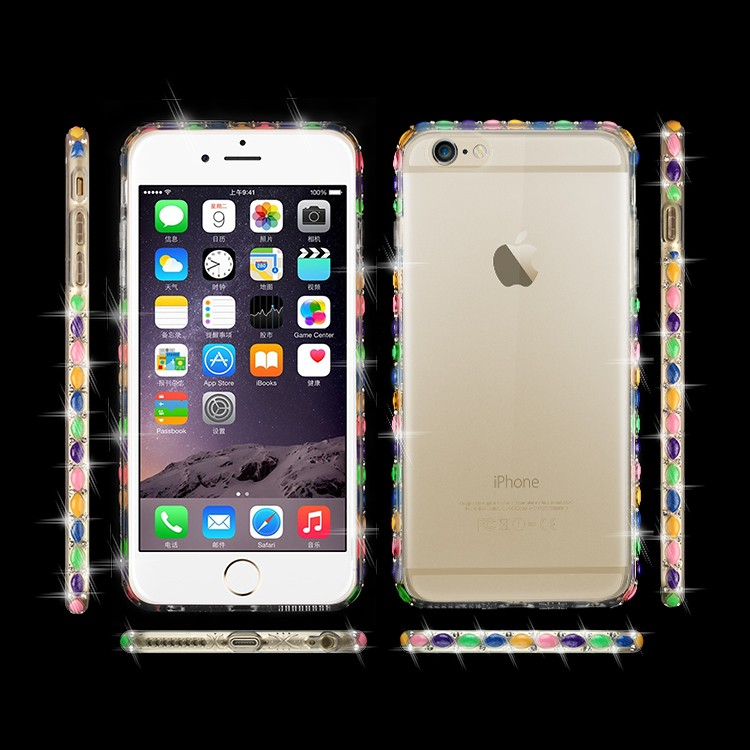 2016 New Transparent Cover Soft TPU Electroplating Case with Diamond For iphone 6 6s plus