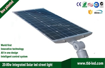 Integrated Solar street light lamp 20w 40w 60w 80w Rotatable Adjustable Solar Panel