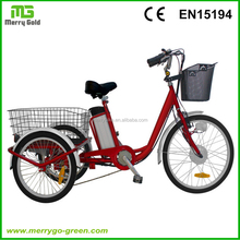 Chinese factory Front 24 inch Adults Three Wheel Electric Tricycle