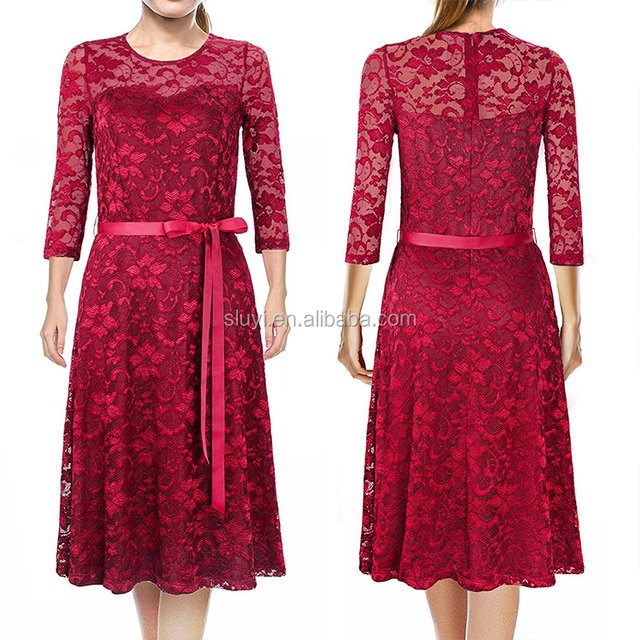 online shopping women's vintage elegant bridesmaid dresses red 3/4 sleeve boatneck floral cocktail dresses lace wedding dress